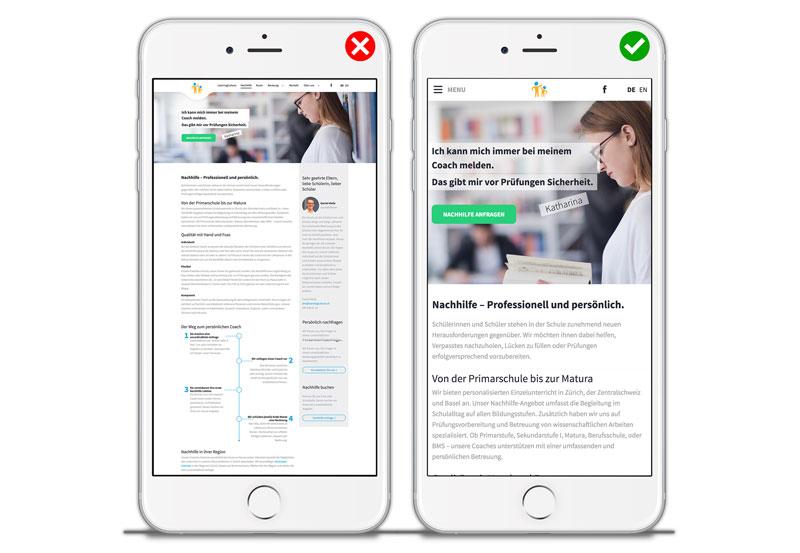 Gegenüberstellung einer mobiloptimierten und einer nicht mobiloptimierten Webseite