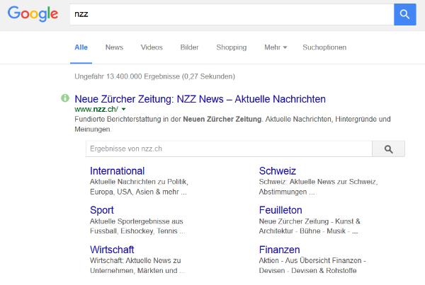 Suchresultat von nzz.ch auf Google